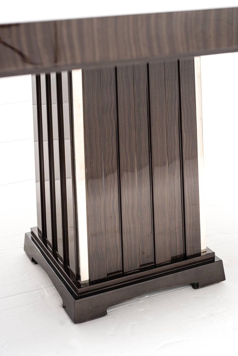 Fine Bespoke Dining Room Table, Veneer Wood Top and Base with Chrome Inserts In Excellent Condition For Sale In Rome, IT