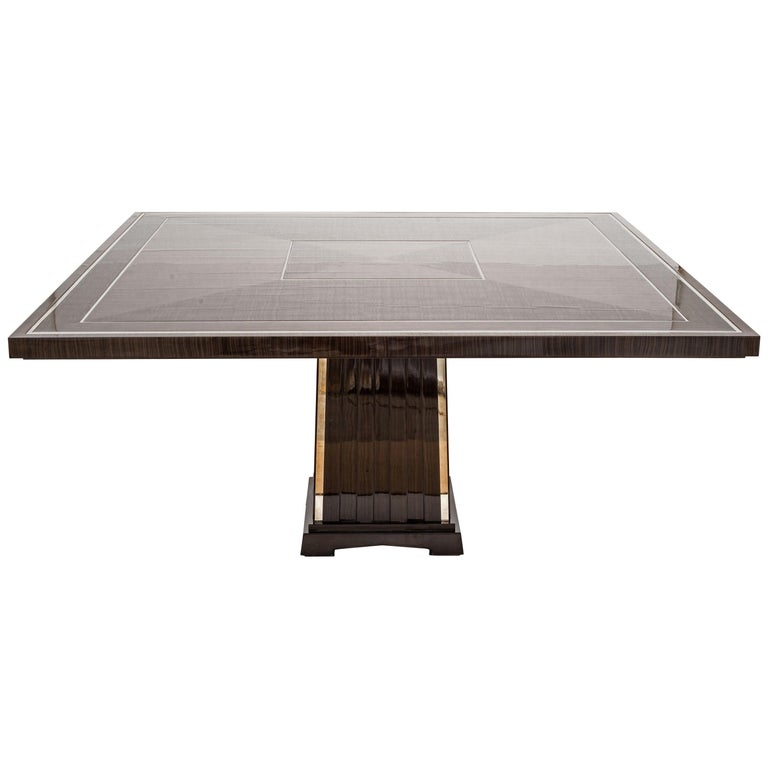 Fine Bespoke Dining Room Table, Veneer Wood Top and Base with Chrome Inserts For Sale
