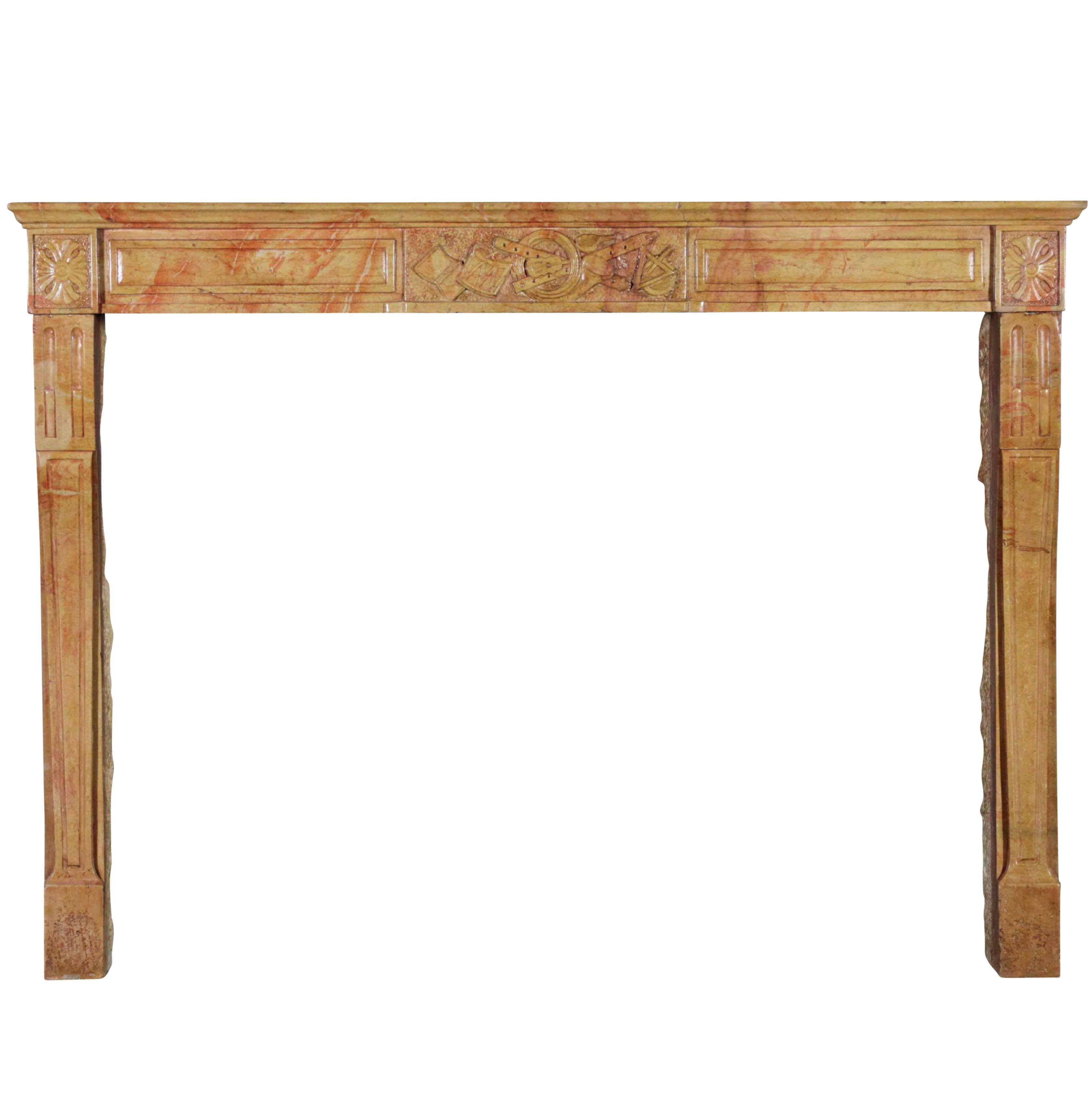 Fine Bicolor Marble Stone French Antique Fireplace Surround