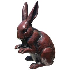"Fine Big Hand Cast Bronze ""Chocolate Finish Rabbit"" from Old Japan"
