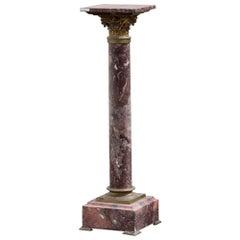 Fine Black and Rouge Marble Pedestal Column