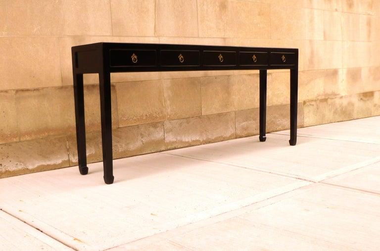 Fine Black Lacquer Console Table For Sale 3