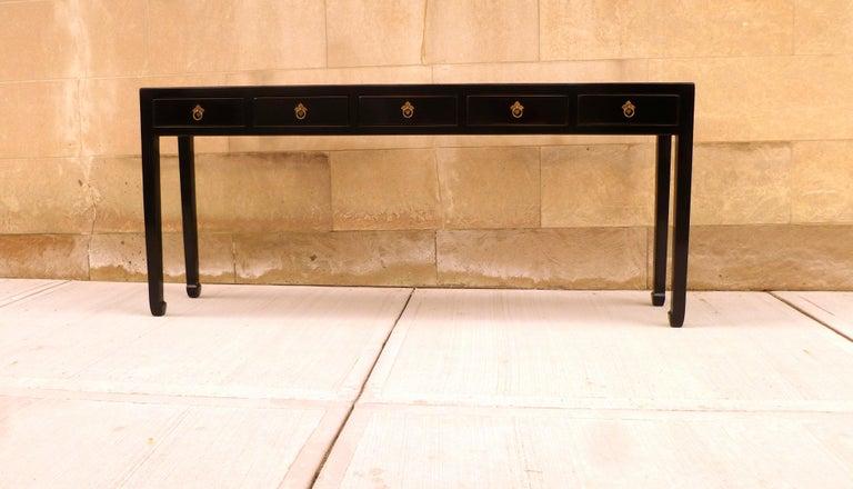 Ming Fine Black Lacquer Console Table For Sale