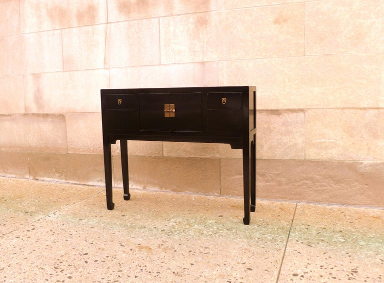 Ming Fine Black Lacquer Console Table For Sale