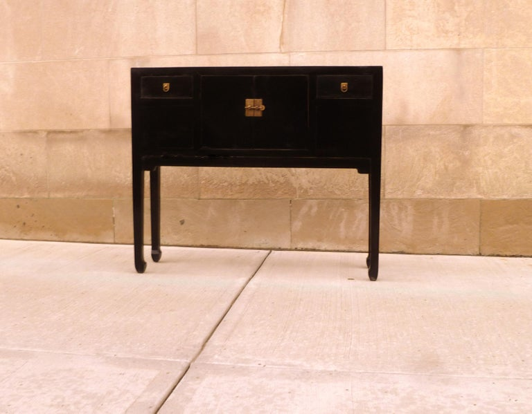 Chinese Fine Black Lacquer Console Table