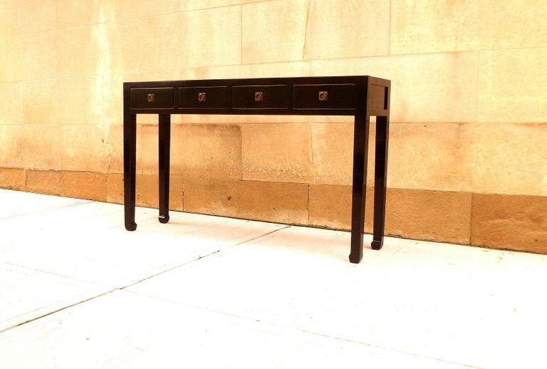 Fine Black Lacquer Console Table 5