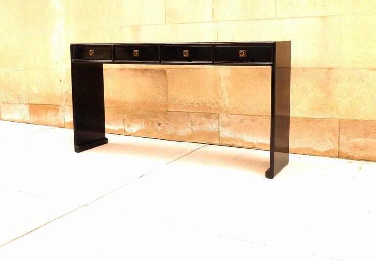 Polished Fine Black Lacquer Console Table
