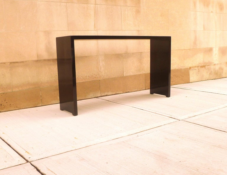 Fine Black Lacquer Console Table In Excellent Condition In Greenwich, CT