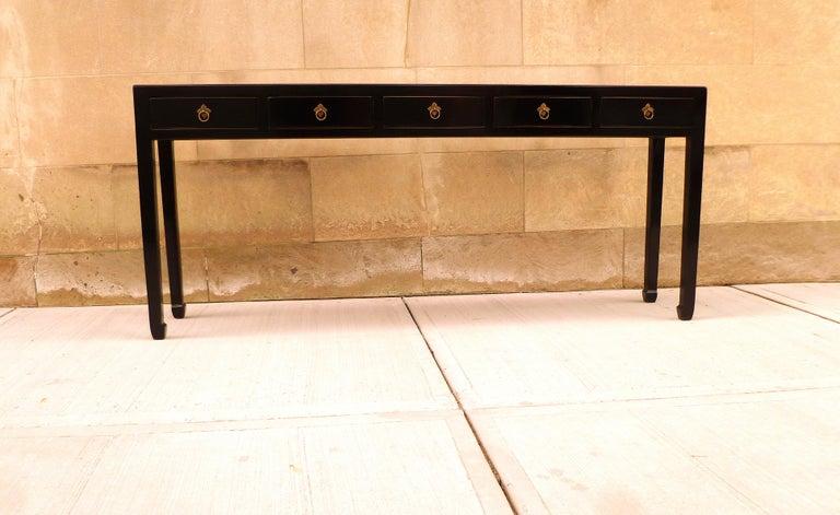 Mid-20th Century Fine Black Lacquer Console Table For Sale