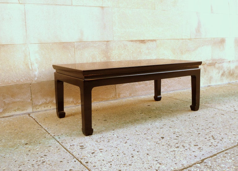 Polished Fine Black Lacquer Low Table For Sale
