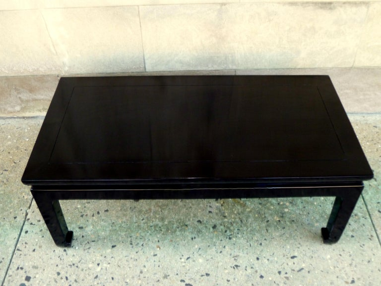 Fine Black Lacquer Low Table In Excellent Condition For Sale In Greenwich, CT