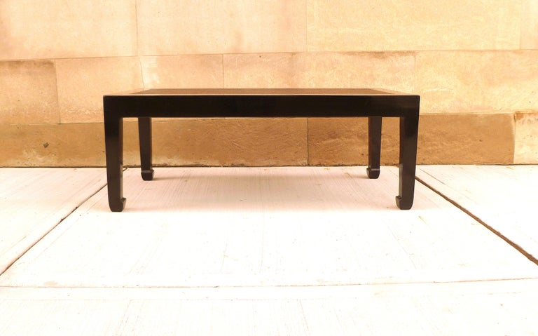 Fine black lacquer low table, canned top with straight legs. We carry fine quality furniture with elegant finished and has been appeared many times in