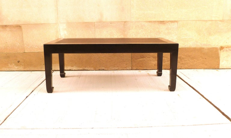 Ming Fine Black Lacquer Low Table with Canned Top For Sale