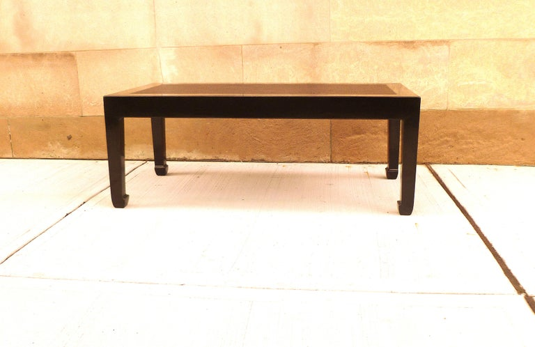 Chinese Fine Black Lacquer Low Table with Canned Top For Sale