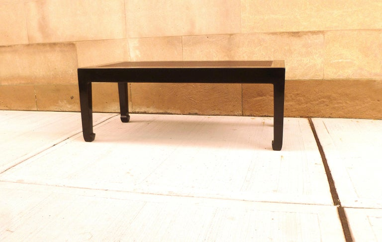 Polished Fine Black Lacquer Low Table with Canned Top For Sale