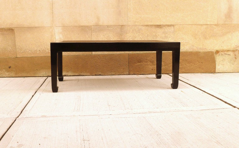 Fine Black Lacquer Low Table with Canned Top For Sale 1