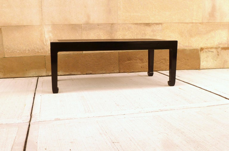 Fine Black Lacquer Low Table with Canned Top For Sale 2
