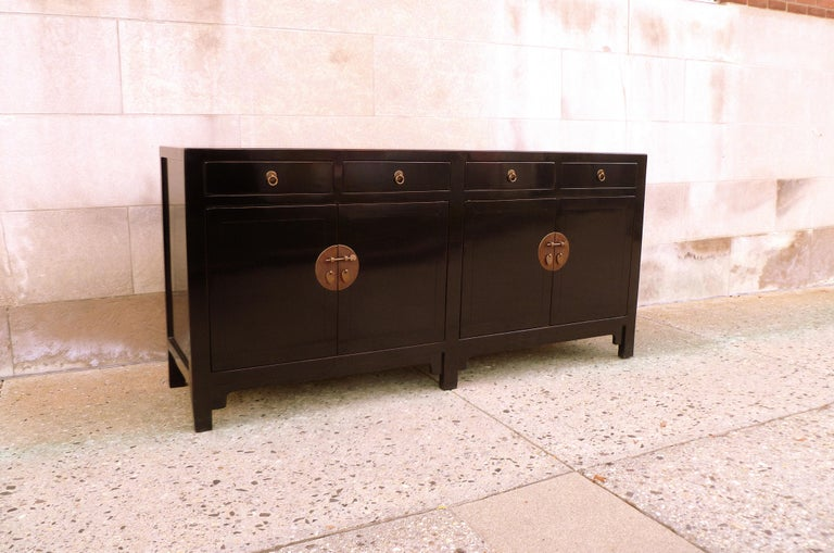 Polished Fine Black Lacquer Sideboard with Drawers and Doors For Sale