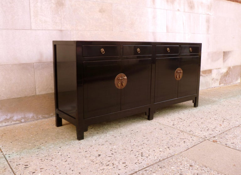 Fine Black Lacquer Sideboard with Drawers and Doors In Excellent Condition For Sale In Greenwich, CT
