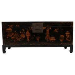 Fine Black Lacquer Trunk with Gilt Motif