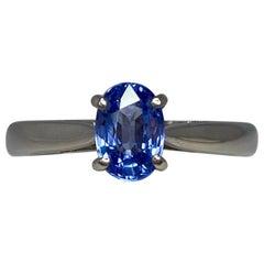 Fine Blue 1.25 Carat Ceylon Sapphire Oval Cut 18 Karat White Gold Solitaire Ring