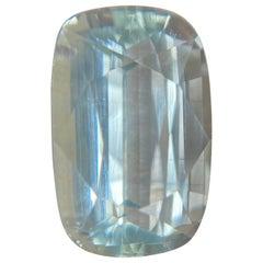 Fine Blue Aquamarine 8.17 Carat Cushion Cut Top Grade Rare Beryl Gemstone