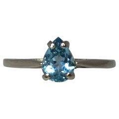 Fine Blue Aquamarine Pear Teardrop Cut 14 Karat White Gold Solitaire Ring