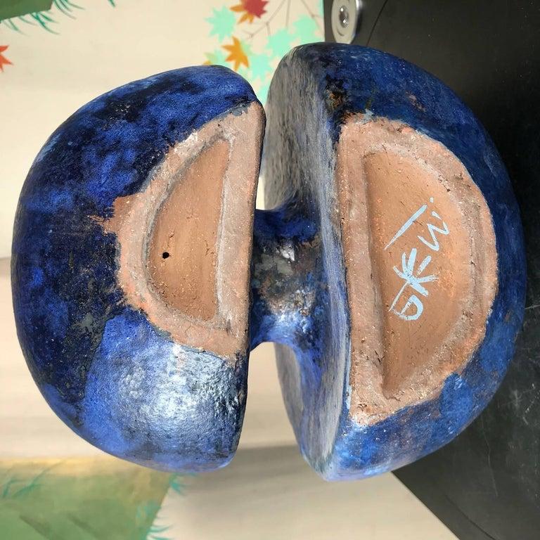 Fine Blue Love Doves Sculpture Master Work Hand-Painted by Eva Fritz-Lindner For Sale 1
