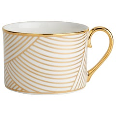 Fine Bone China Coffee Cup with 22-Carat Gold and Black Decals