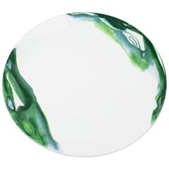 Fine Bone China Dinner Plate with Organic Shapes and Delicate Green Colors
