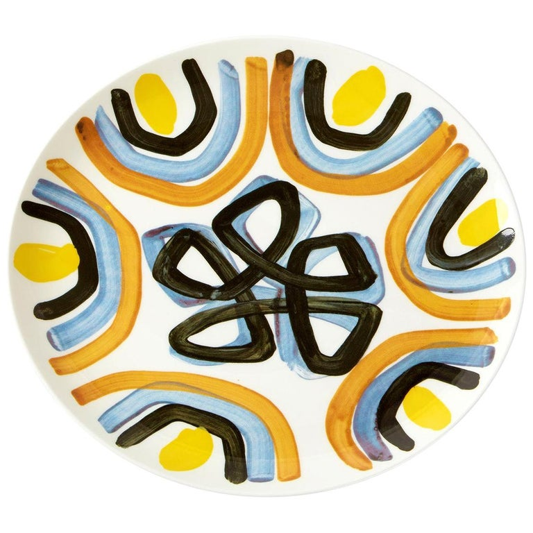 Fine Bone China Dinner Plate with Sculptural Yellow Flower Design For Sale
