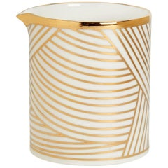 Fine Bone China Jug with 22-Carat Gold & Black Decals with Hand Gilded Details