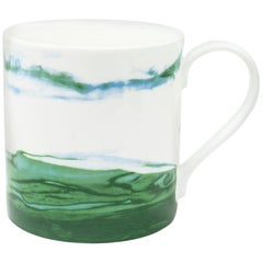 Fine Bone China Mug with Organic Shapes and Delicate Green Colours