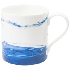 Fine Bone China Mug with Organic Shapes and Delicate Watercolor Techniques
