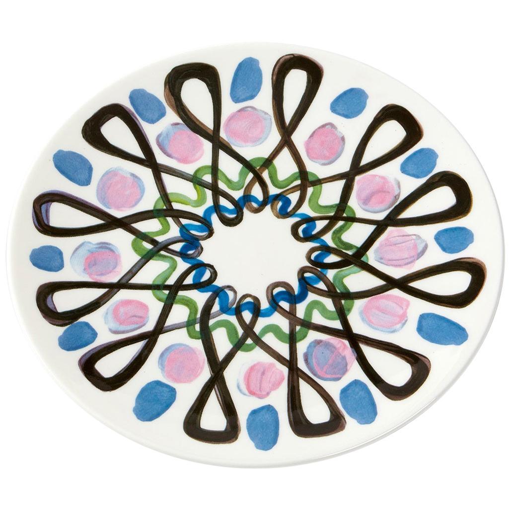 Fine Bone China Salad Plate with Sculptural Pink Swirl Design
