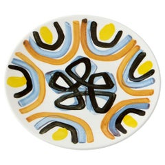 Fine Bone China Salad Plate with Sculptural Yellow Flower Design