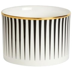 Fine Bone China Sugar Bowl with 22-Carat Gold and Black Decals
