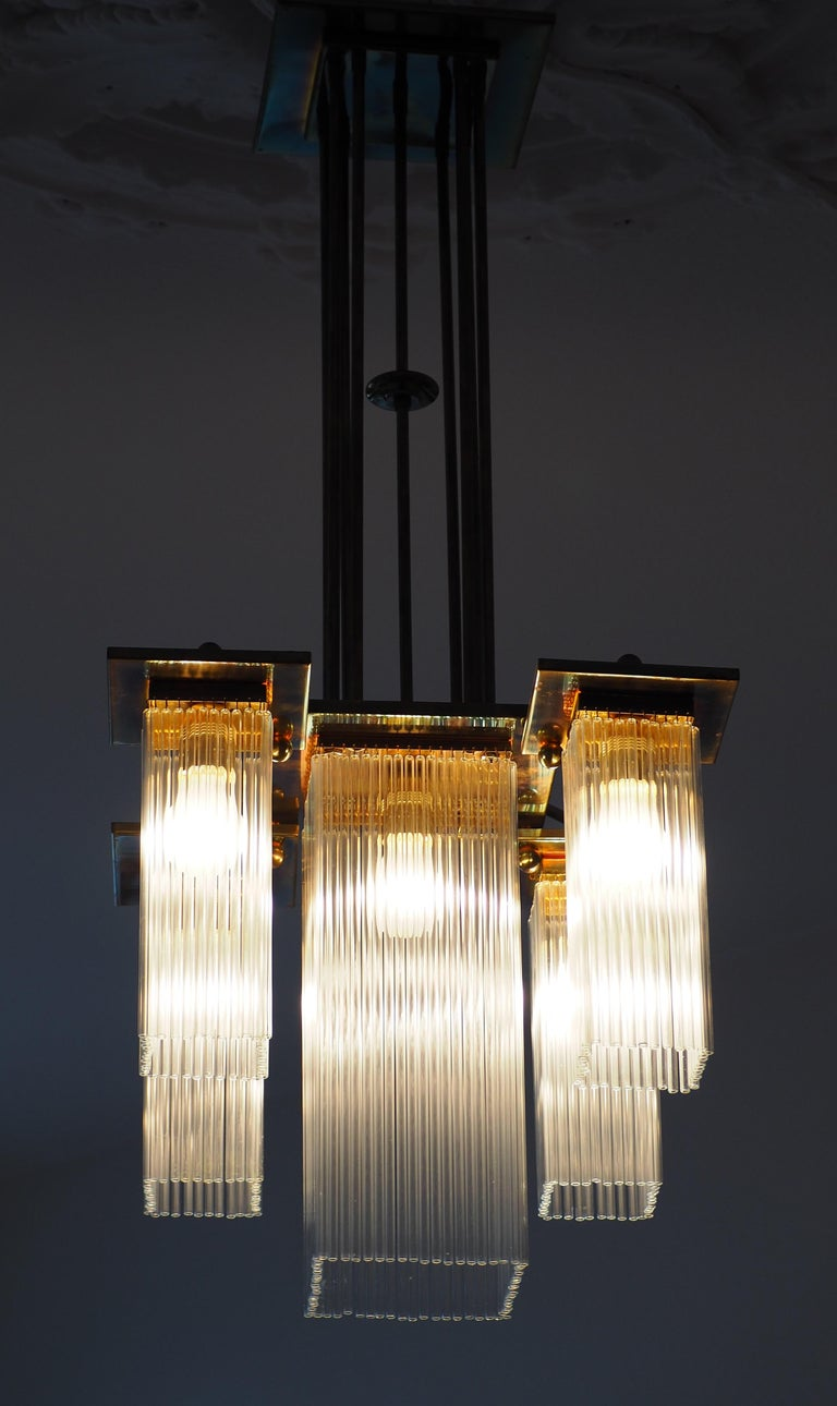 Fine Brass and Glass Chandelier from Vienna, Koloman Moser, Otto Wagner Style For Sale 4