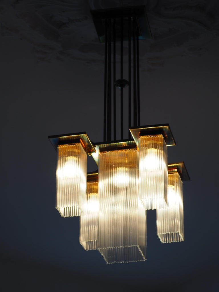 Fine Brass and Glass Chandelier from Vienna, Koloman Moser, Otto Wagner Style For Sale 5