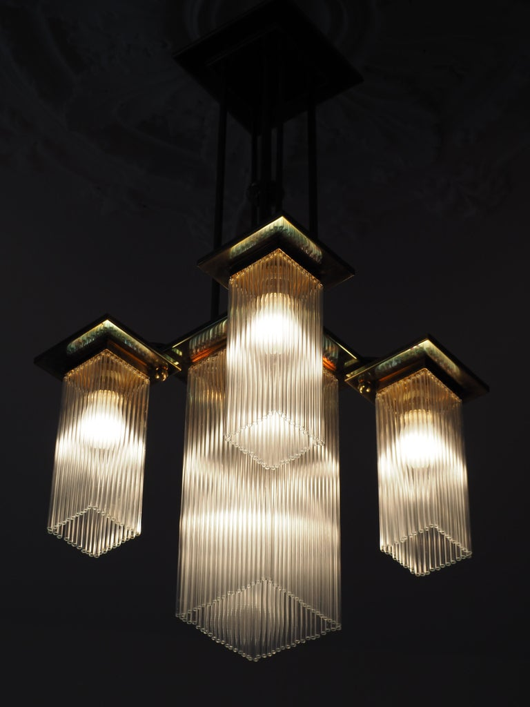 Fine Brass and Glass Chandelier from Vienna, Koloman Moser, Otto Wagner Style For Sale 6