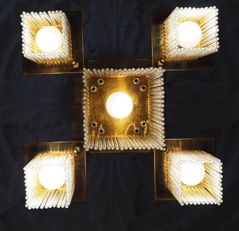 Fine Brass and Glass Chandelier from Vienna, Koloman Moser, Otto Wagner Style For Sale 7