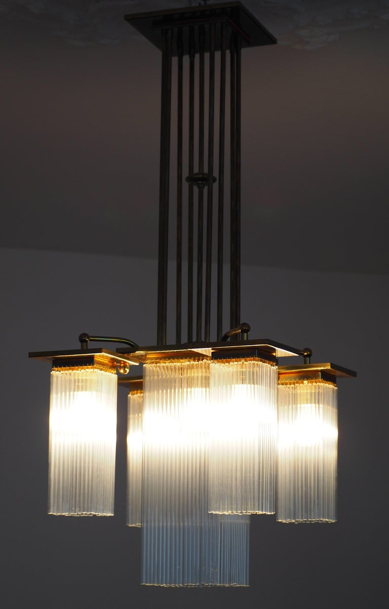 Fine Brass and Glass Chandelier from Vienna, Koloman Moser, Otto Wagner Style For Sale 8
