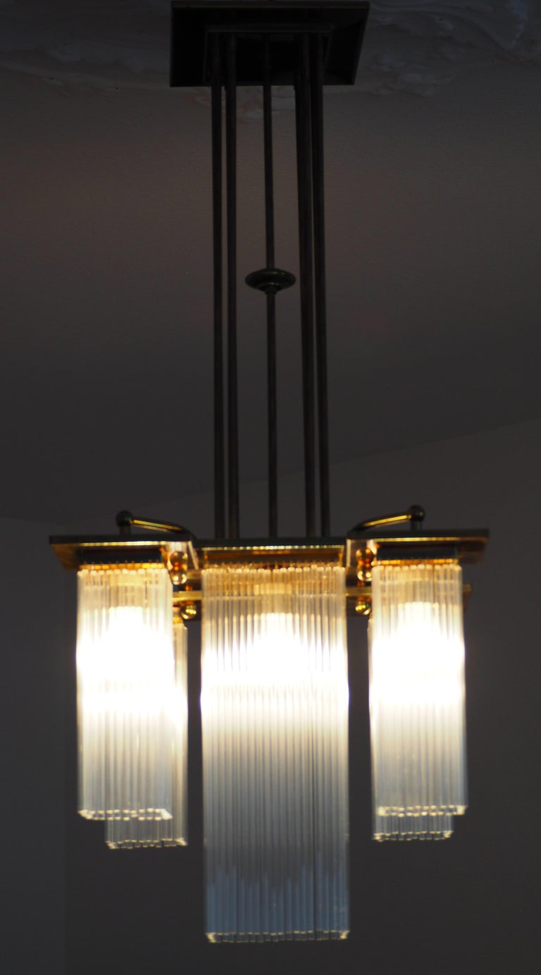 Fine Brass and Glass Chandelier from Vienna, Koloman Moser, Otto Wagner Style For Sale 9