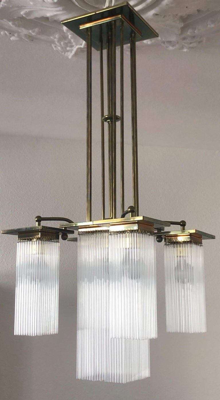 Jugendstil Fine Brass and Glass Chandelier from Vienna, Koloman Moser, Otto Wagner Style For Sale