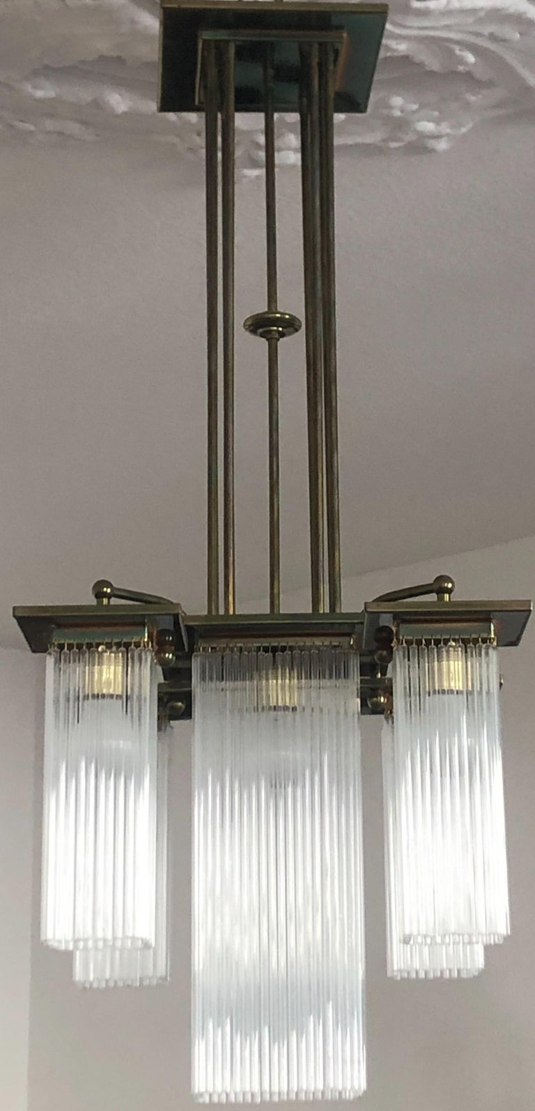 Fine Brass and Glass Chandelier from Vienna, Koloman Moser, Otto Wagner Style In Excellent Condition For Sale In Wiesbaden, Hessen