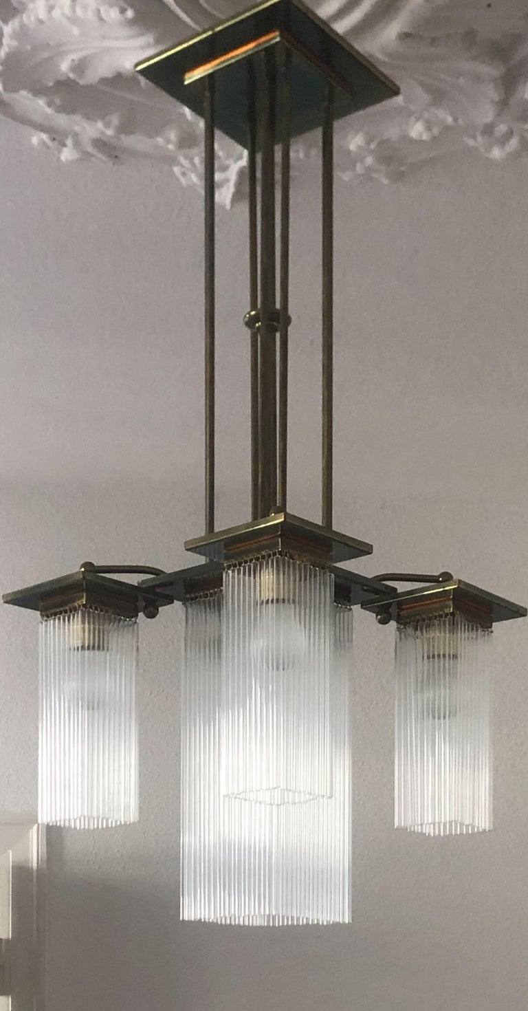 Late 20th Century Fine Brass and Glass Chandelier from Vienna, Koloman Moser, Otto Wagner Style For Sale