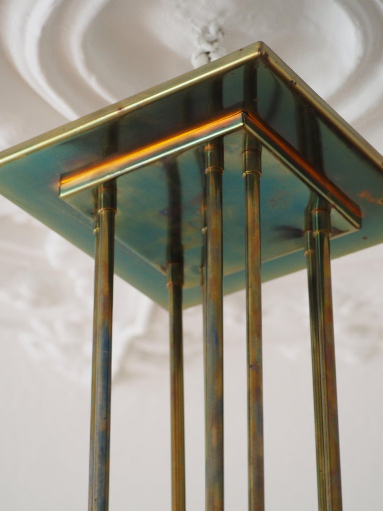 Fine Brass and Glass Chandelier from Vienna, Koloman Moser, Otto Wagner Style For Sale 2
