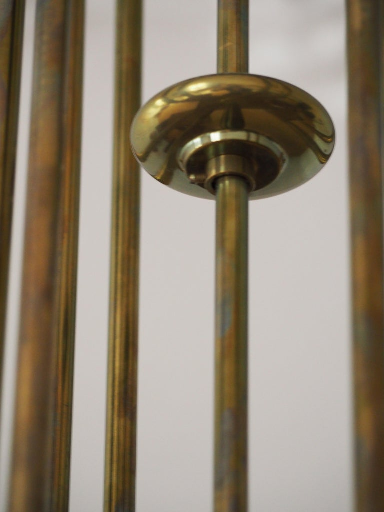 Fine Brass and Glass Chandelier from Vienna, Koloman Moser, Otto Wagner Style For Sale 3