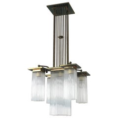 Fine Brass and Glass Chandelier From Vienna, Koloman Moser, Otto Wagner Style