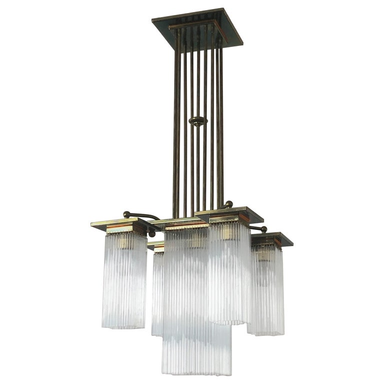 Fine Brass and Glass Chandelier from Vienna, Koloman Moser, Otto Wagner Style For Sale